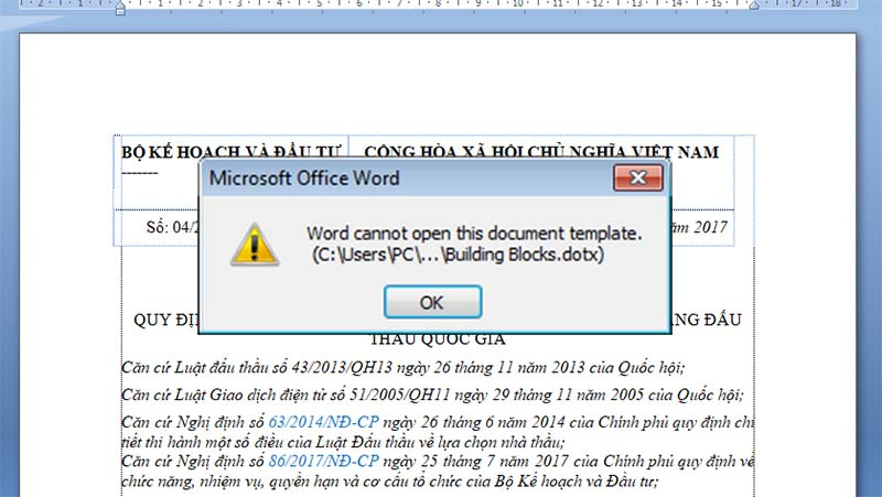 l u1ed7i  u0111 u00e1nh s u1ed1 trang word cannot open this document template